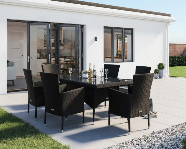 6 Seat Rattan Garden Dining Set With Rectangular Dining Table in Black & White - Cambridge - Rattan Direct
