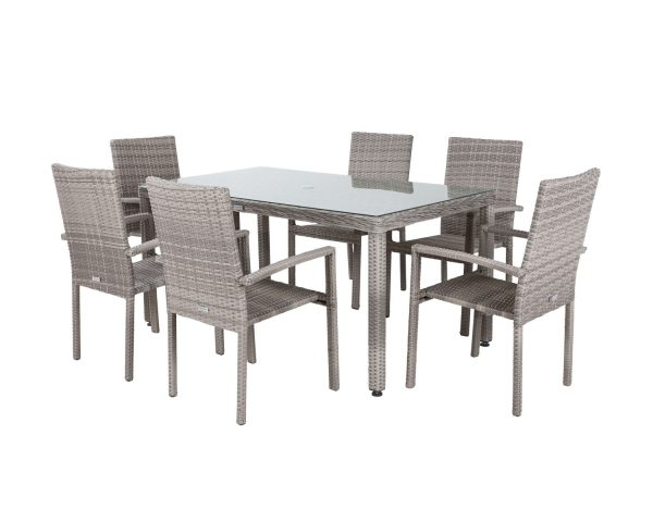 6 Seat Rattan Garden Dining Set With Rectangular Open Leg Table in Grey - Rio - Rattan Direct