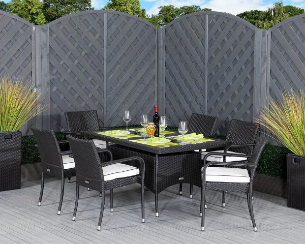 6 Seat Rattan Garden Dining Set With Small Rectangular Dining Table in Black & White - Roma - Rattan Direct