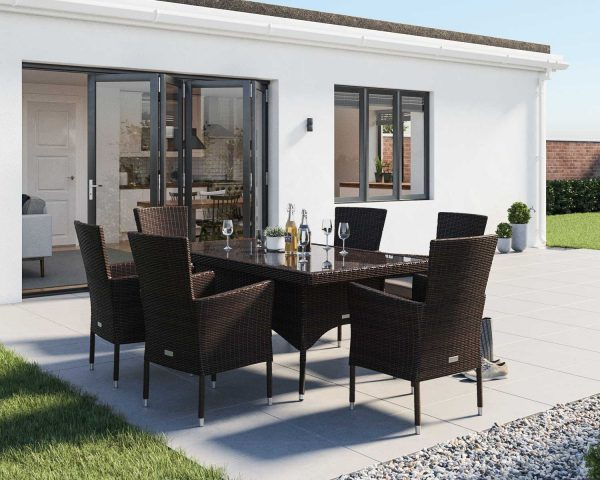 6 Seater Rattan Garden Dining Set With Small Rectangular Dining Table in Brown - Cambridge - Rattan Direct