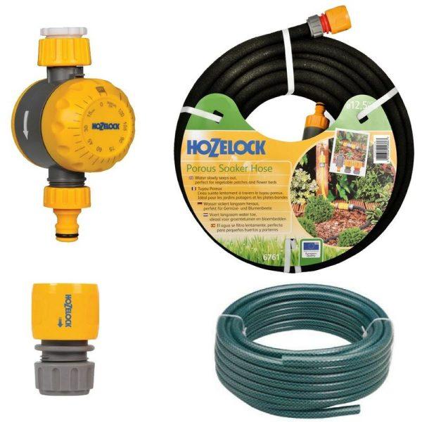 6764 25M Standard Soaker Porous Hose Kit - 2210 Water Timer, 15m Hose - Hozelock