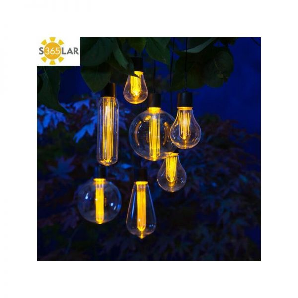 7 x Solar Edison Bulb String Garden Lights 1017024 Hanging Lightbulb LED - Noma