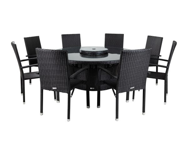 8 Seat Rattan Garden Dining Set With Large Round Dining Table in Black - Rio - Rattan Direct