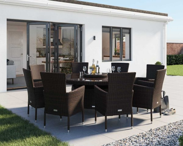 8 Seat Rattan Garden Dining Set With Large Round Round Dining Table in Brown - Cambridge - Rattan Direct