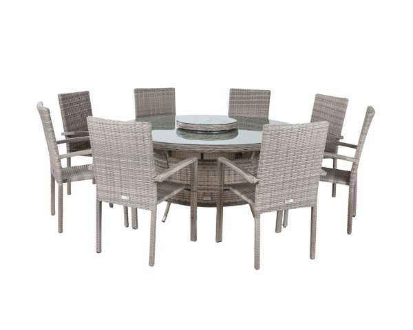 8 Seat Rattan Garden Dining Set With Large Round Table in Grey - Rio - Rattan Direct