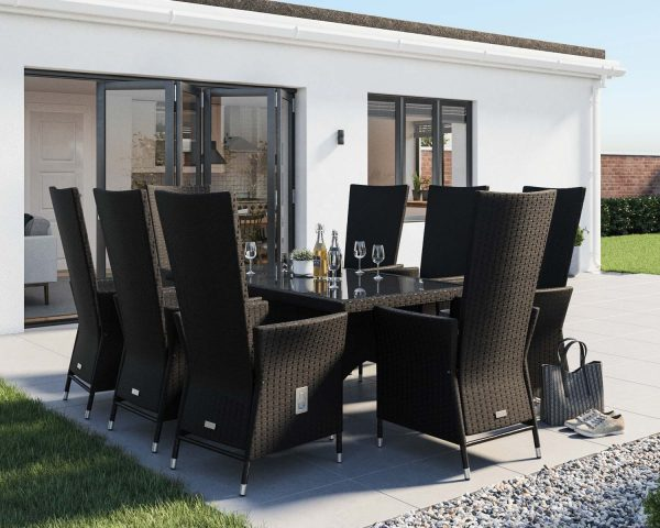 8 Seat Rattan Garden Dining Set With Rectangular Dining Table in Black & White - Cambridge - Rattan Direct