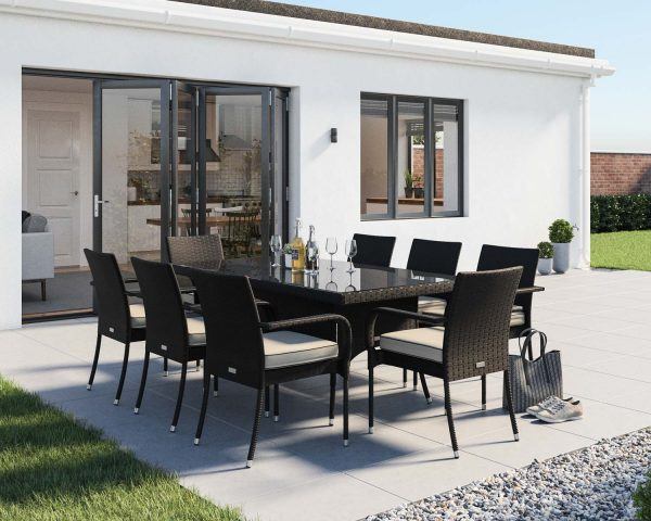 8 Seat Rattan Garden Dining Set With Rectangular Dining Table in Black & White - Roma - Rattan Direct
