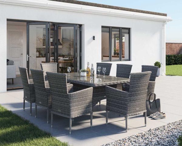 8 Seat Rattan Garden Dining Set With Rectangular Dining Table in Grey - Cambridge - Rattan Direct