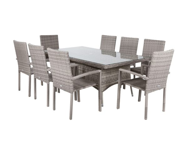 8 Seat Rattan Garden Dining Set With Rectangular Dining Table in Grey - Rio - Rattan Direct