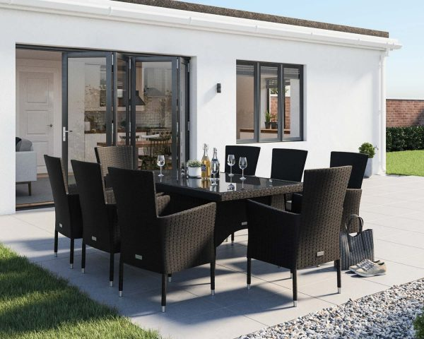 8 Seater Rattan Garden Dining Set With Rectangular Dining Table in Black & White - Cambridge - Rattan Direct