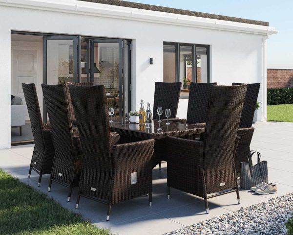 8 Seater Rattan Garden Dining Set With Rectangular Dining Table in Brown - Cambridge - Rattan Direct