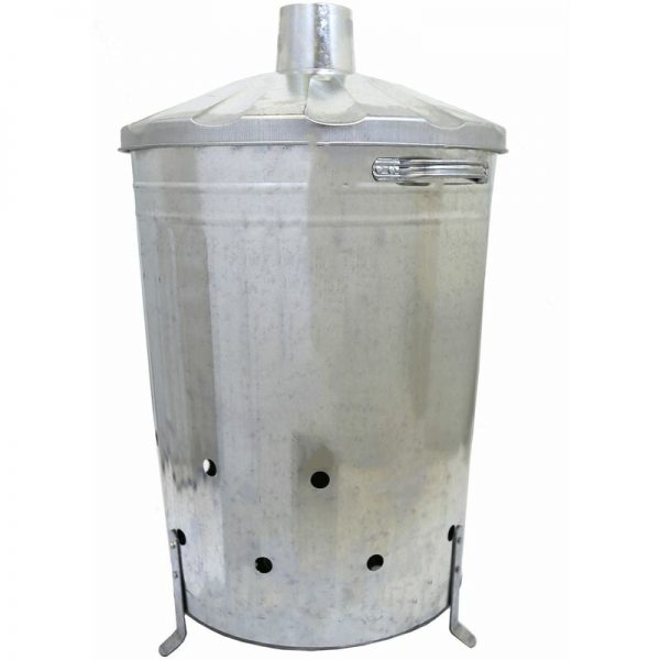 90L Galvanized Metal Waste Incinerator Fire Burning Bin - Silver - Charles Bentley