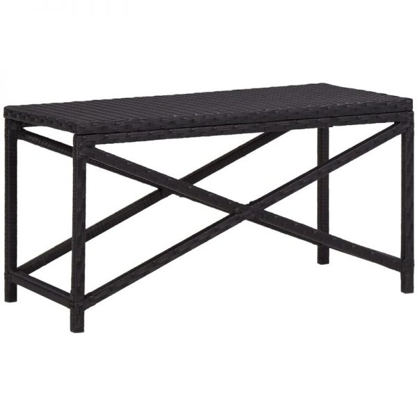 Asupermall - Garden Bench 80 cm Poly Rattan Black
