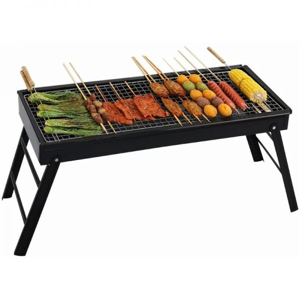 BBQ Grill Portable Folding Charcoal Barbecue Desk Tabletop Outdoor Stainless Steel,65x30x32.5cm (L x W x H)
