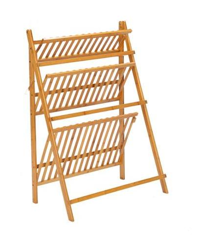 Bamboo Plant Frame Three Layers, Balcony Bamboo Frame Folding With Hanging Rod Flower Frame, Indoor Office Balcony, Living Room, Outdoor Garden