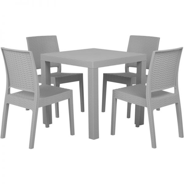 Beliani - Garden Dining Set Table 4 Chairs Garden Light Grey Terrace Plastic Fossano
