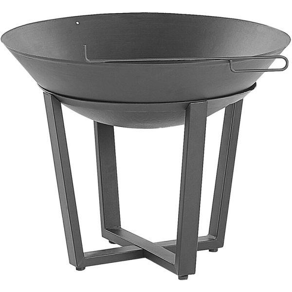 Beliani - Modern Outdoor Charcoal Fire Pit Black Steel Metal Bowl Shape Round Kedung