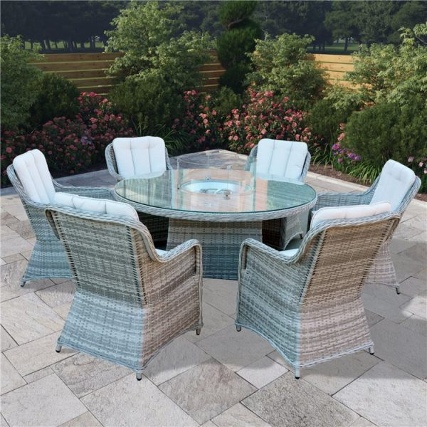 BillyOh Parma 6 Seater Round Outdoor Rattan Garden Dining Set with Firepit Table - 6 Seater Round Rattan with Firepit
