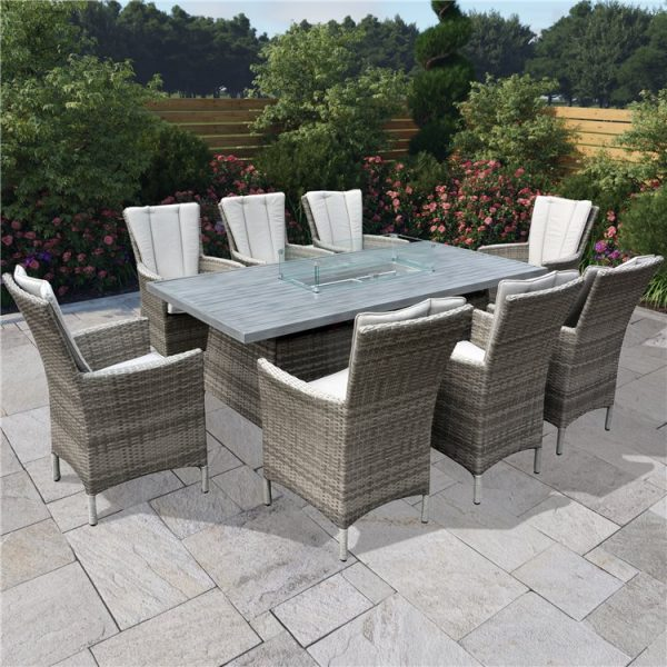 BillyOh Sicily 8 Seater Outdoor Rattan Garden Dining Set with Firepit Table - 8 Seater Long Rattan with Firepit