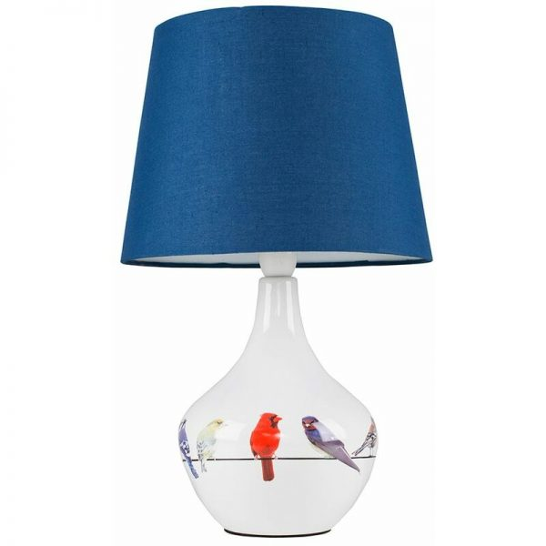 Bird Ceramic Table Lamp Bedside Fabric Shade Light - White