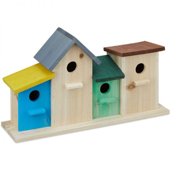 Birdhouses on Wooden Stand, Outdoor Nesting Box, Garden Decoration, Feeder HxWxD 26 x 46 x 12.5 cm, Colourful - Relaxdays