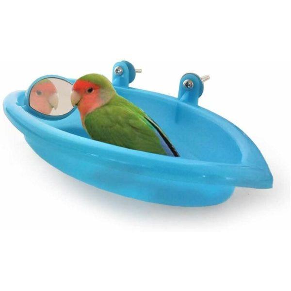 Birds Bath Pet Bath Supplies Portable Shower Small Plastic Animals Parrot Basin, Bird Bath Bird Bath Parrot Shower Enclosure Accessories (Blue)