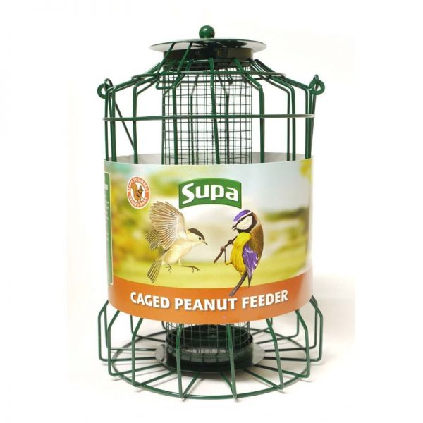 Caged Peanut Bird Feeder (25cm) (Green) - Supa