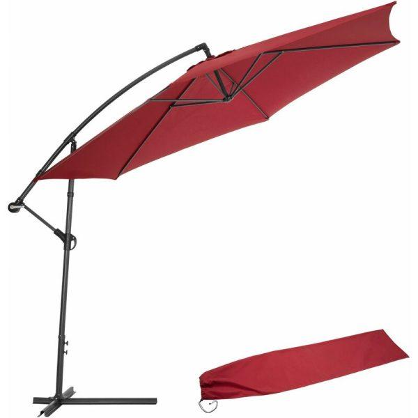 Cantilever Parasol 350cm with protective sleeve - garden parasol, overhanging parasol, banana parasol - red