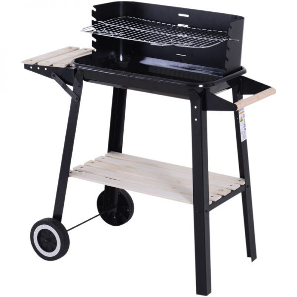 Charcoal BBQ Grill Trolley Barbecue Patio Outdoor Garden Heating Smoker Portable - Outsunny