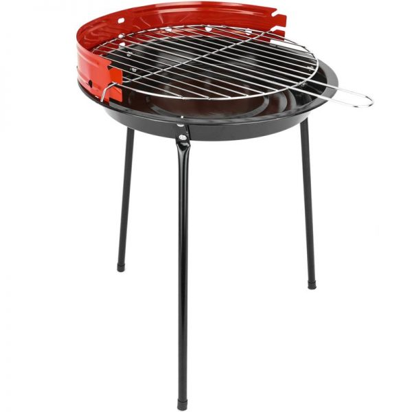 Charcoal barbecue 33 cm with legs BBQ grill for garden and camping - Primematik