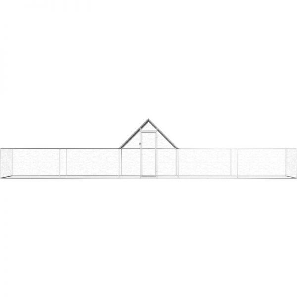 Chicken Coop 10x2x2 m Galvanised Steel QAH06056 - Hommoo