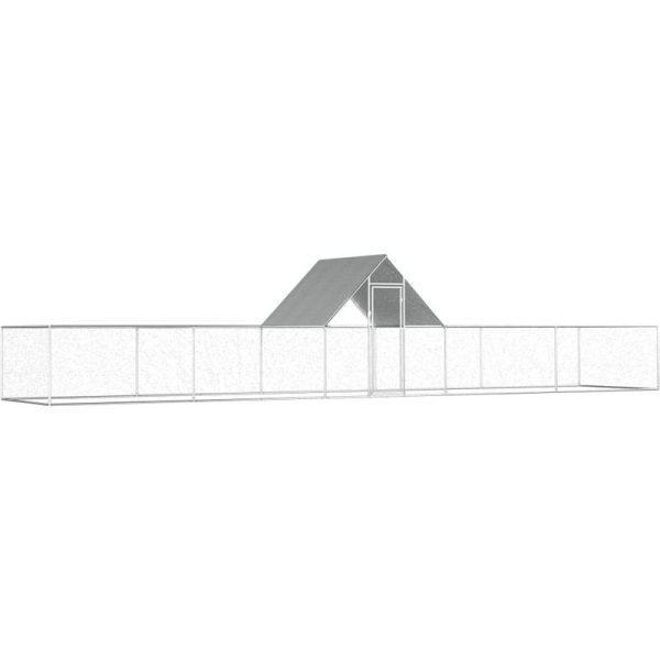 Chicken Coop 10x2x2 m Galvanised Steel VD06056 - Hommoo