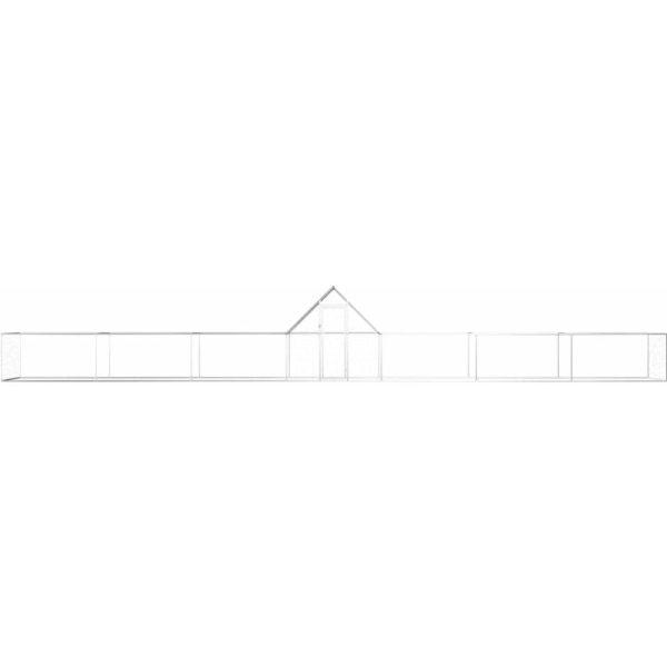 Chicken Coop 14x2x2 m Galvanised Steel QAH06057 - Hommoo