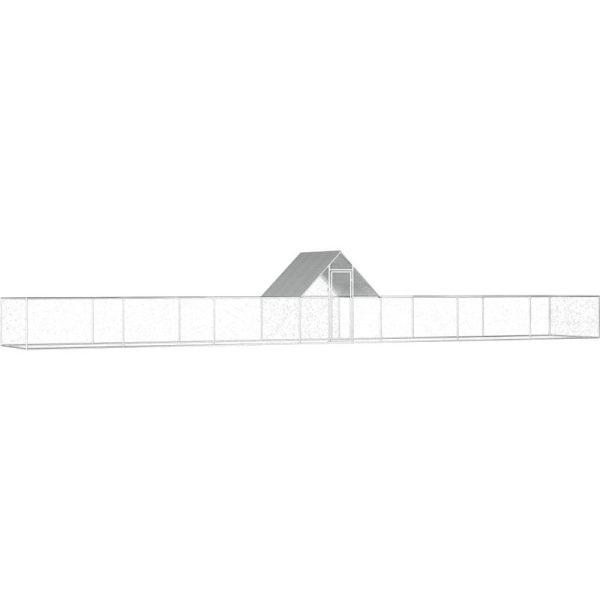 Chicken Coop 14x2x2 m Galvanised Steel VD06057 - Hommoo