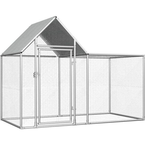 Chicken Coop 2x1x1.5 m Galvanised Steel VD06048 - Hommoo