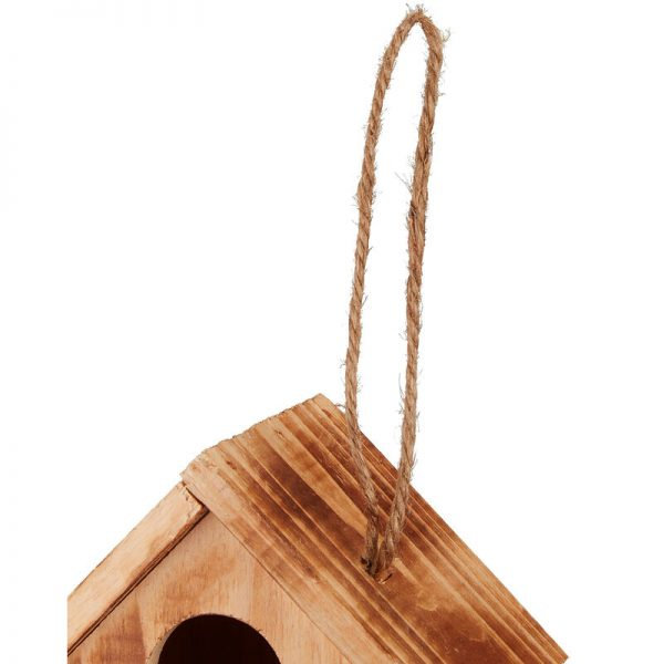 Decorative Wooden Birdhouse, Balcony, Terrace, Hanging, Mini Nesting Box, H x W x D 34 x 20 x 19 cm, Natural - Relaxdays