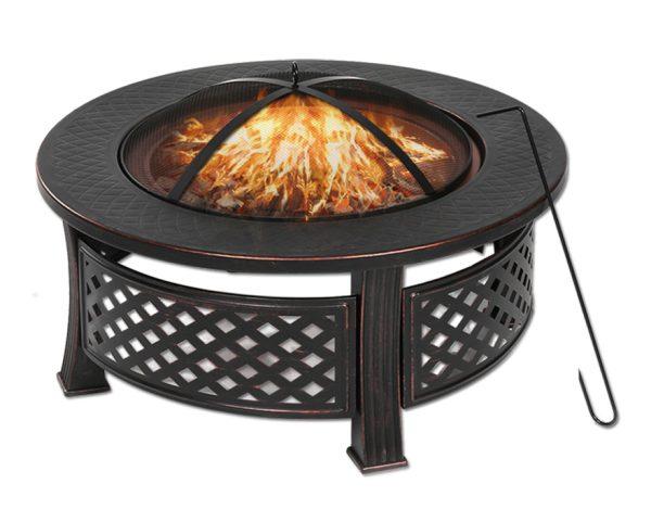 Fire Pit Patio BBQ Brazier Garden Fireplace Heater 81X46cm Round Shape