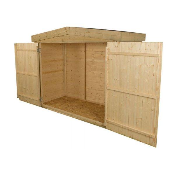 Forest Shiplap Large Double Door Apex Garden Storage- Outdoor Bike/Mower Store