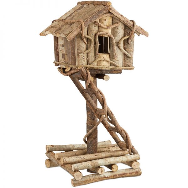 Freestanding Bird House, Untreated Decorative Bird Hotel on Stand, Handmade Nesting Box with Ladder, Natural - Relaxdays