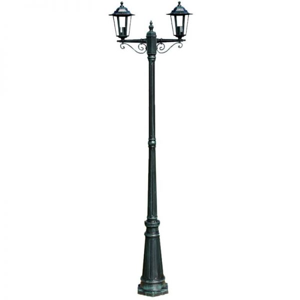 Garden Light Post 2-arms 215 cm Dark Green/Black Aluminium VD26133 - Hommoo