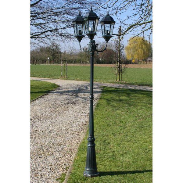 Garden Light Post 3-arms 230 cm Dark Green/Black Aluminium QAH26129 - Hommoo