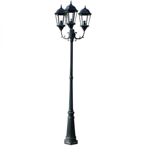 Garden Light Post 3-arms 230 cm Dark Green/Black Aluminium VD26129 - Hommoo