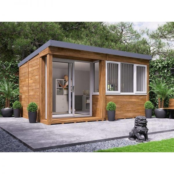 Garden Office Helena Left 4.3m x 3.3m - Insulated Home Office Studio Pod Study Room Double Glazing Toughened Glass
