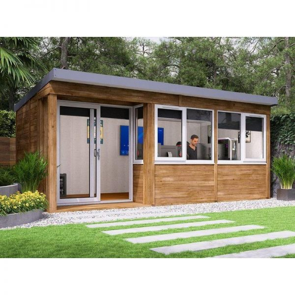 Garden Office Helena Left 5.4m x 2.7m - Insulated Home Office Studio Pod Study Room Double Glazing Toughened Glass