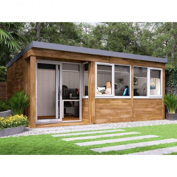 Garden Office Helena Left 5.4m x 3.3m - Insulated Home Office Studio Pod Study Room Double Glazing Toughened Glass