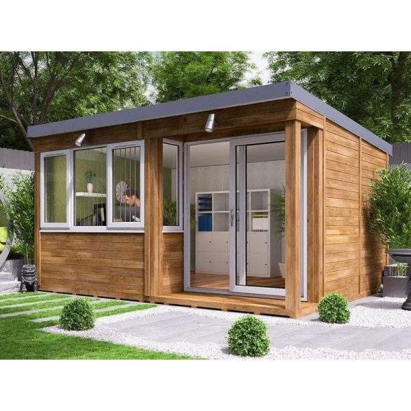 Garden Office Helena Right 4.3m x 3.3m - Insulated Home Office Studio Pod Study Room Double Glazing Toughened Glass
