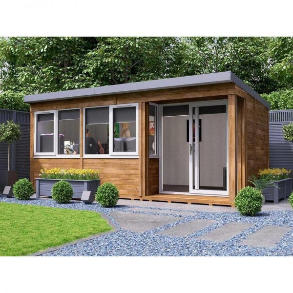 Garden Office Helena Right 5.4m x 2.7m - Insulated Home Office Studio Pod Study Room Double Glazing Toughened Glass