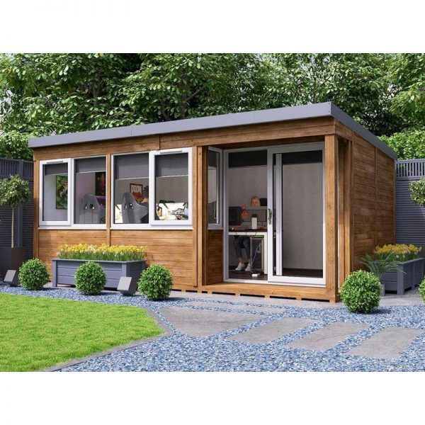 Garden Office Helena Right 5.4m x 3.3m - Insulated Home Office Studio Pod Study Room Double Glazing Toughened Glass