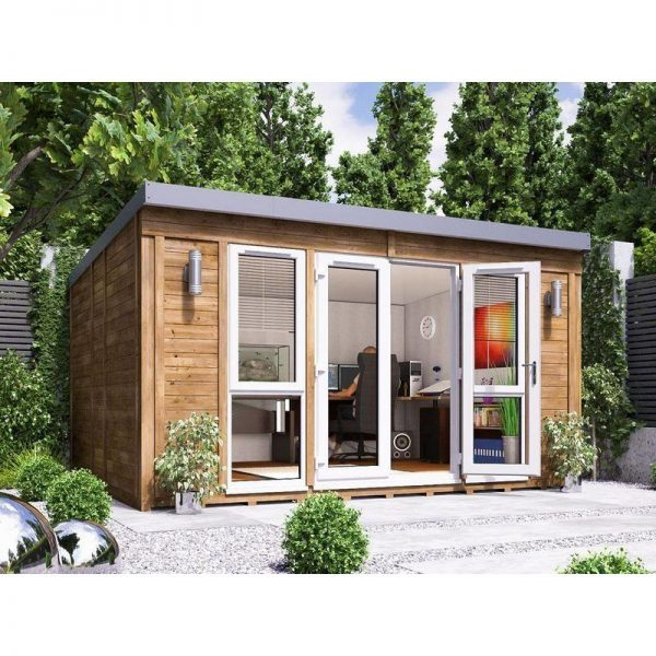 Garden Office Titania 4.5m x 3.5m - Insulated Studio Pod Home Office Study Room Double Glazing Toughened Glass