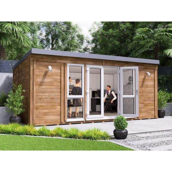 Garden Office Titania 5.5m x 3.5m - Insulated Studio Pod Home Office Study Room Double Glazing Toughened Glass